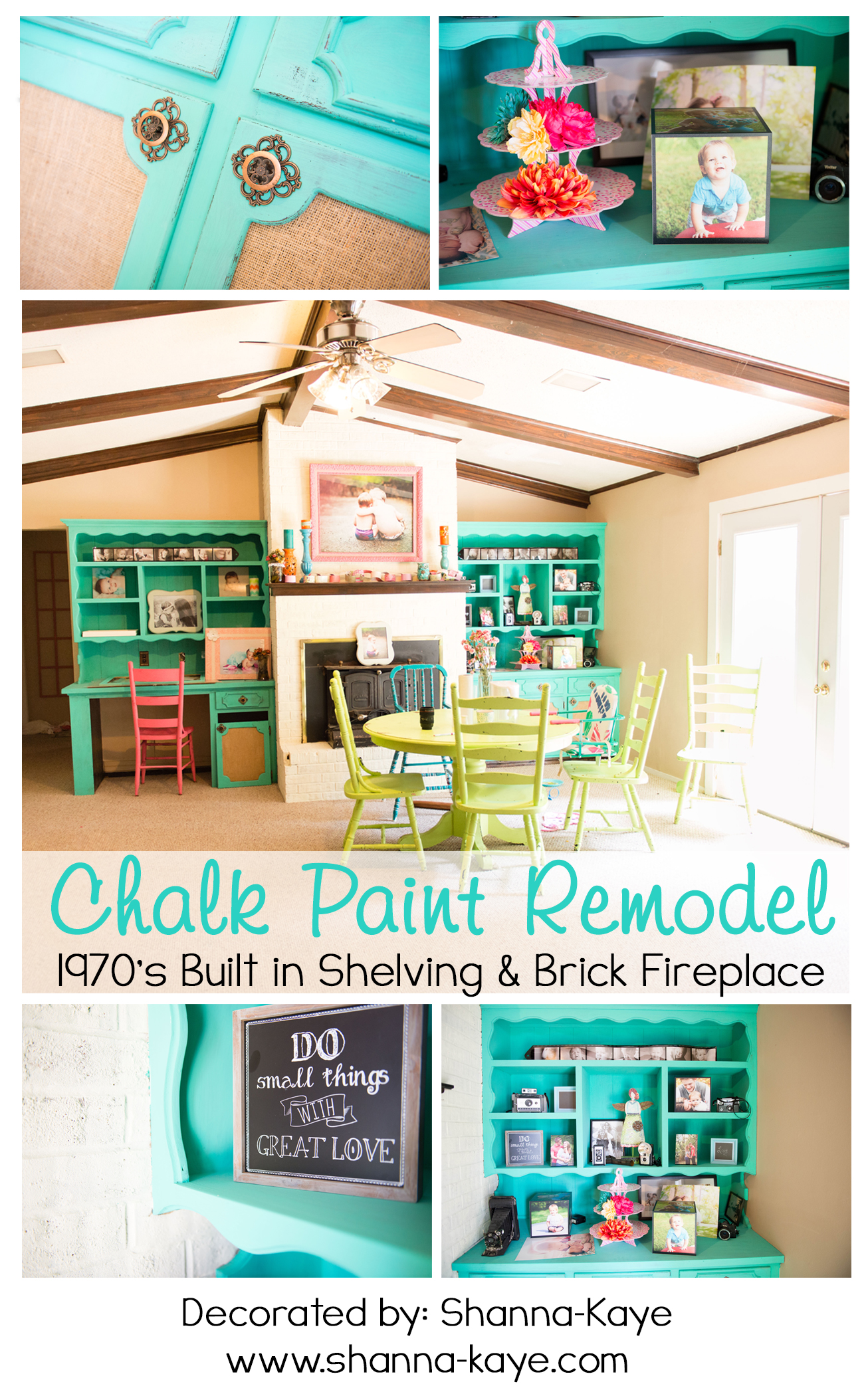chalk paint remodel 1970 u0027s built in shelves u0026 fireplace shanna